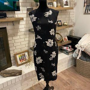 Banana Republic Black Print Dress, EUC, size 10